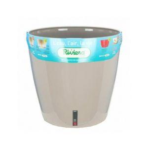 Riviera Pot plastique à réserve d'eau Diam.30 x H.27.5 cm taupe