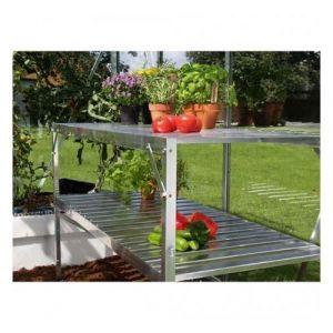 Lams Table 2 plateaux pour serre de jardin, Couleur Naturel anodisé - longueur : 1m20