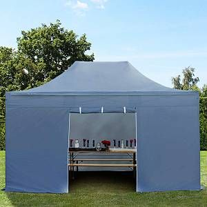 Intent24 Tente pliante tente pliable 3x4,5m - sans fenêtre PROFESSIONAL toit 100% imperméable tente de jardin pavillon gris fonce.FR