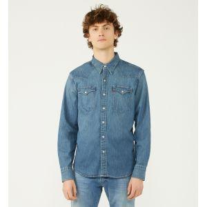 Levi's Chemise droite en denim stretch délavé Bleu