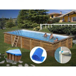 Sunbay Kit piscine bois Braga 8,00 x 4,00 x 1,46 m + Bâche hiver + Bâche à bulles + Alarme