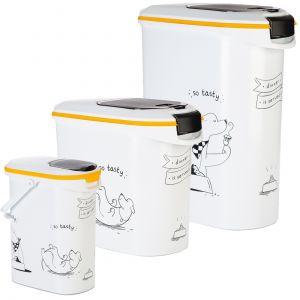 Curver Conteneur de nourriture Le Diner est servi - 12 kg - 35 L - Blanc et noir - Pour chien