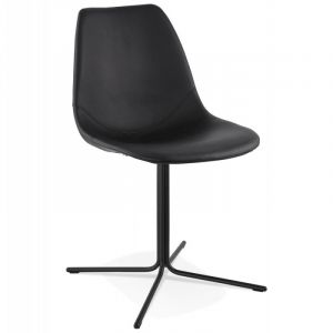Declikdeco Chaise design avec assise en similicuir BEDFORD (NOIR)