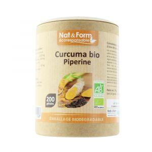 Nat & Form Curcuma + Pipérine Bio 200 gélules Eco Responsable