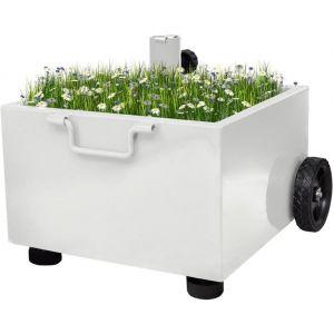 VidaXL Pied Parasol Pot Fleurs Blanc