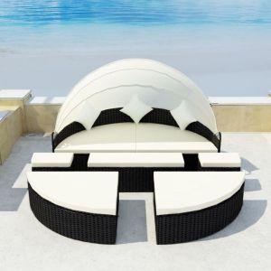 VidaXL Salon de jardin/bain de soleil noir 2 en 1 en polyrotin avec dais