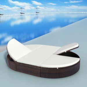 Image de VidaXL Chaise longue rotin synthétique 200 x 140 x 28 cm