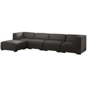 Comforium Canapé d'angle moderne à 5 places avec méridienne gauche en tissu gris