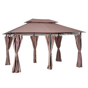 Outsunny Tonnelle barnum pavillon de jardin style colonial double toit toiles latérales amovibles 3L x 4l x 2,65H m chocolat