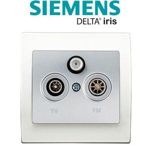 Siemens Prise TV/FM/SAT Silver Delta Iris + Plaque basic Blanc