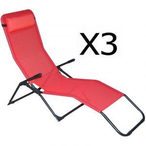 Pegane Lot de 3 Chaises longue en texaline + coussin appui t?te, rose - Dim : 193 x 59 x 96 cm
