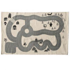 Bloomingville Tapis enfant en coton blanc et gris Circuit