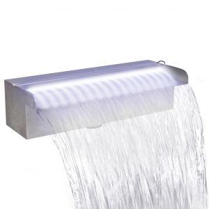 VidaXL Lame d'eau rectangulaire à LED 30 cm en acier inoxydable pour piscine