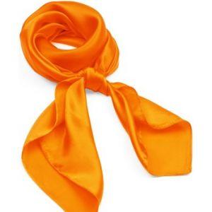 Allée du foulard Carré de soie Premium Uni Orange