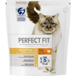 Perfect fit Sensitive Sterilisé - Croquettes à la dinde - Pour chat adulte sensible - 1,4 kg