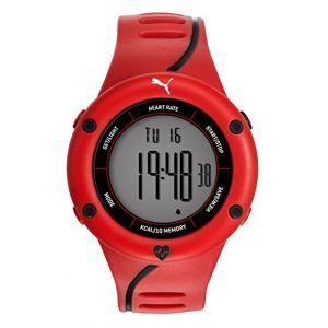 Puma Time Cardiac 01 PU911361003 - Montre Quartz - Affichage Digital - Bracelet Plastique Rouge et Cadran Gris - Homme