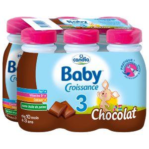 Candia Lait Bébé Liquide Dès 10 Mois Chocolat - Les 6 Bouteilles De 250 Ml