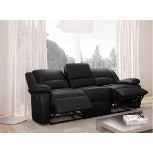 RELAX Canapé de relaxation droit 3 places Simili noir Contemporain L 190 x P 93 cm