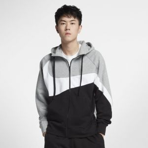 Nike M NSW HBR Hoodie FZ FT STMT Sweat-Shirt Homme, Gris (Dark Grey Heather/White Black 063), FR : L (Taille Fabricant : L)