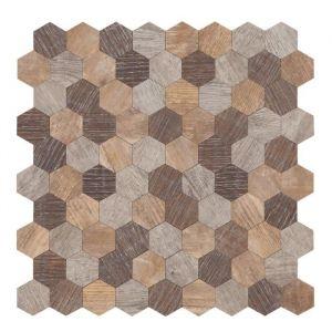 Mosaïque Bois Polygone 30,5 x 30,5 cm Marron