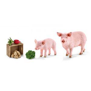 Schleich Figurines animaux de la ferme cochons et nourriture cochons