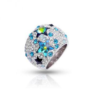 Blue Pearls Cry H402 C - Bague Dome Étoiles en Cristal Swarovski Elements bleu