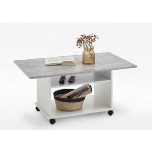 a0b6c1b58d5fff FMD Möbel FMD Table basse style contemporain blanc mat et gris béton - L  100 x l