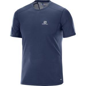 Salomon Homme T-Shirt de Trail Running à Manches Courtes, Trail Runner SS, Jersey/Carbone de Bambou, Bleu Foncé, Taille L, L40099500