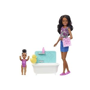 Mattel Poupée Barbie - Coffret Baby-sitter Heure du bain FXH06