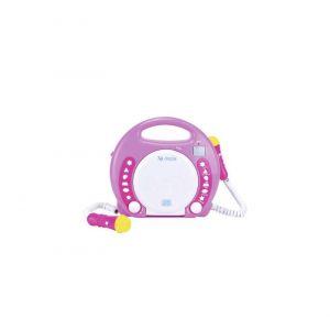 X4-Tech Lecteur CD pour enfants Bobby Joey CD, SD, USB avec microphone rose