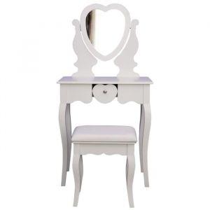 Coiffeuse classique en bois paulownia blanc - L 66 cm - Bois paulownia blanc - L 66 x P 40 x H 130 cm - 1 miroir et 1 tiroir coeur - 1 tabouret blanc