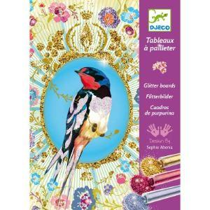 Djeco Tableaux à pailleter : Oiseaux