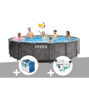 Intex Kit piscine tubulaire Baltik ronde 5,49 x 1,22 m + Bâche à bulles + Kit de traitement au chlore