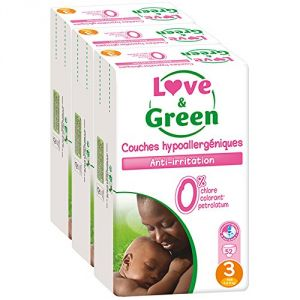 Love & Green Couches hypollaergénique anti-irritation taille 3 Midi 4-9 kg - 3 x 52 couches