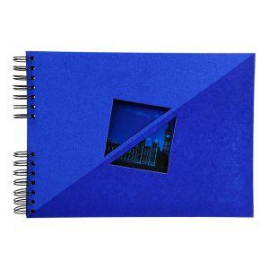 Exacompta 16053E - Album photos Twist 32x22 cm, 50p. noires/100 photos, reliure à spirales, bleu