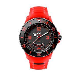 Ice Watch - SU.RD.BB.S.14 Miami - Montre Homme - Quartz Analogique - Cadran Noir et Rouge - Bracelet Silicone Rouge