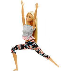 Mattel FTG81 - Made to Move Poupée Articulée Fitness Ultra Flexible Blonde, Legging à Fleurs Roses et 22 points d'Articulations, Jouet pour Enfant