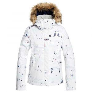 Roxy Jet Veste de Ski/Snowboard pour Femme, Bright White on Piste, FR : M (Taille Fabricant : M)