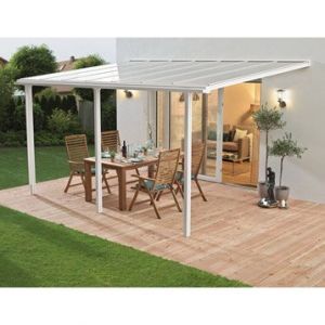 Image de Ideanature Pergola adossée aluminium blanc 13 m² - Couverture de terrasse tradition