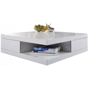 Table basse blanc laque tiroirs - Comparer 45 offres