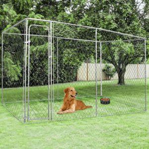 Idmarket Chenil grillagé 4x2 m pour chiens 8 m²