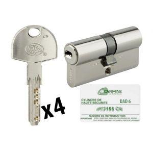 Bricorama Cylindre de porte 35 x 35 mm Barillet debrayable avec 4 clés et carte de reproduction