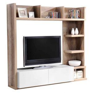 Leader - Meuble TV haut en bois avec tiroirs et niches L159 cm H149 cm