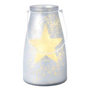 Verre bocal blanc avec étoile lumineuse 20 LED de 15x26 cm