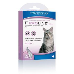 Francodex Fiproline 50 mg - Pipettes antiparasitaires pour Chat