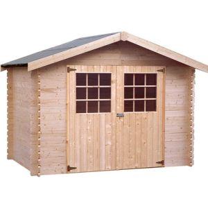Decor et jardin 63417S000 - Abri de jardin en bois massif 28 mm 5,90 m2 (porte double/fermeture à verrou)