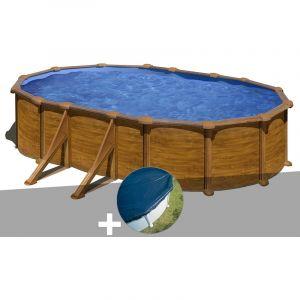 Gre Kit piscine acier aspect bois Mauritius ovale 5,27 x 3,27 x 1,32 m + Bâche hiver