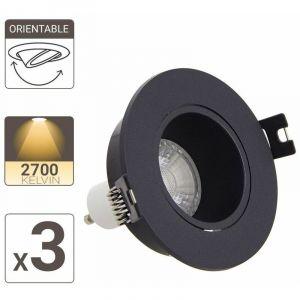 Xanlite PACK3SP50RAN LED Plafond encastrable Lot 3 Spots GU10 50W 2700K Rond orientable Noir IP20-PACK3SP50RAN