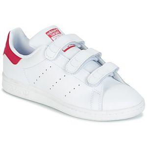 Adidas Stan Smith CF, Baskets Mixte Enfant, Blanc (Footwear White/Footwear White/Bold Pink 0), 35.5 EU