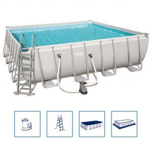 Bestway Ensemble de piscine carrée Power Steel 56626